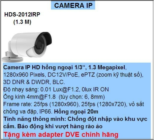 CAMERA HD PARAGON  -HDS-2012IRP (1.3 M)